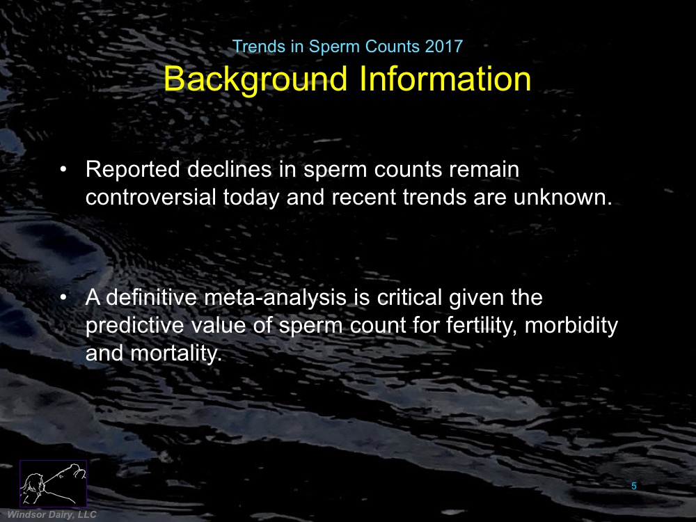 Trends in Sperm Counts: A meta-analysis of 244 studies from 1973-2011 shows steady decline