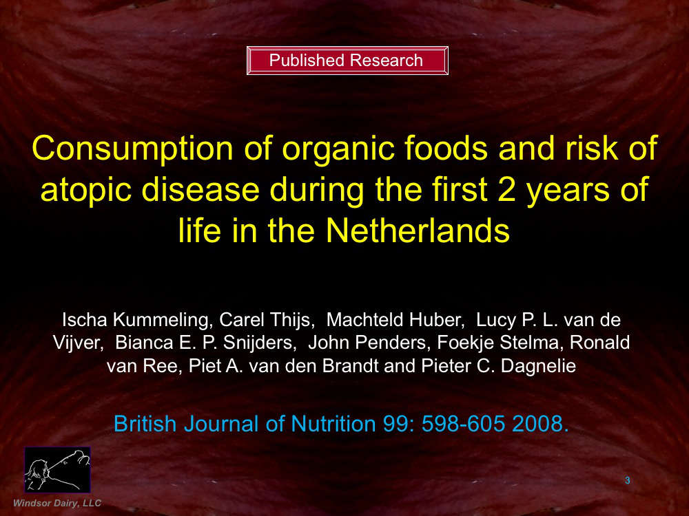 This study is a follow-up to the Dutch Breastmilk Study. Organic Food Consumption reduced the chances of eczema development.