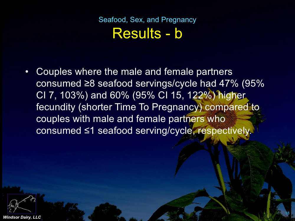 More Seafood Eaten Resulted in more Sex and More Pregnancies